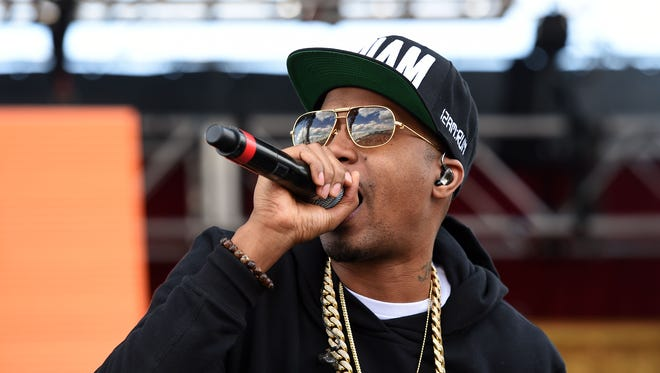 Rapper Nas performs at Pimlico Race Course on May 17  in Baltimore.