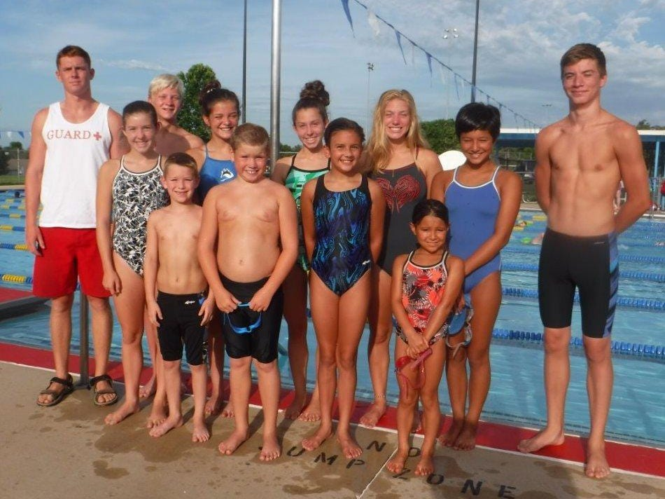 The Mountain Home Hurricanes have 18 swimmers who have qualified for the 2015 Junior Olympics set in Hampton, Va. Qualifiers are: first row, from left, Mallory Brownrigg, A.J. Reiss, Walker Byrum, Sierra Trogdon, Peeka Traver; second row, coach Dustin Hartley, Whit Lawrence, Madelyn Lynch, Mackenzie Brownrigg, Madison Brownrigg, Joia Traver and J.D. Duke.