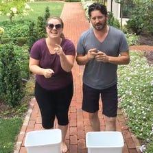 Kelly Clarkson and husband Brandon  Blackstock take the Ice Bucket Challenge.