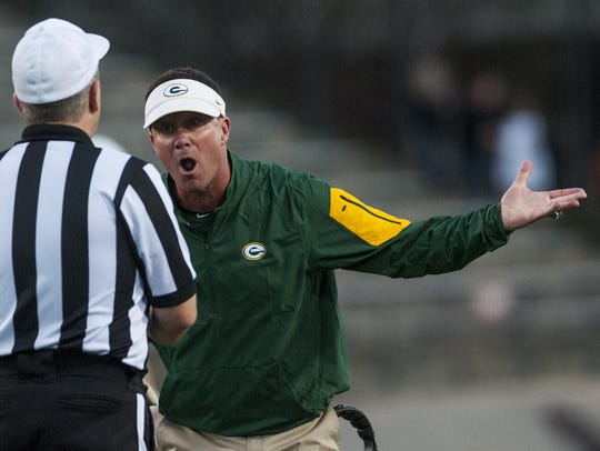 "Bobby Carr argues a call at the 2015 AISA football championships. Afterward, he admitted he ""was wrong"" on the play."