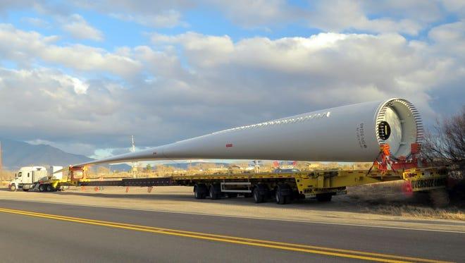"""Ray Dean captured this  57-meter wind generator blade """"resting"""" in Carrizozo last week."""