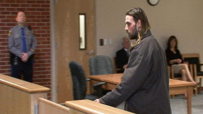 Andrew Mayer appears in Toms River Municipal Court in March. Police say Mayer drove his pickup truck onto the frozen Toms River earlier in March and the truck fell through the ice, killing his dog, Rolo.