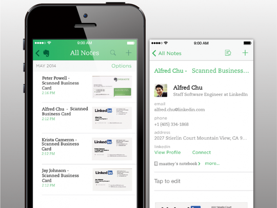 A screenshot from Evernote.