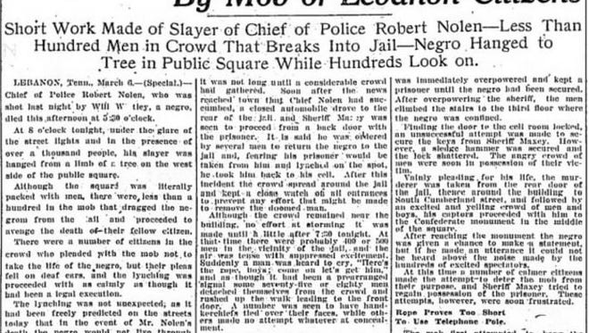The Tennessean's report of the lynching of Will Whitley in Lebanon, March 7, 1916.