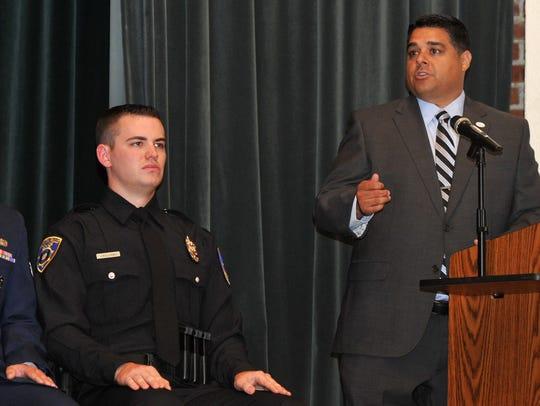 Wichita Falls Mayor Stephen Santellana speaks to graduates