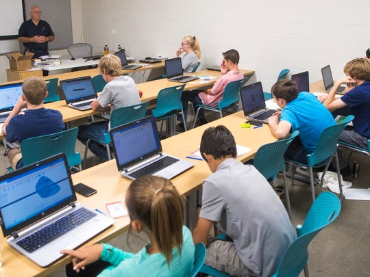 Students learn about designing tools on computers during the Summer Manufacturing and Entrepreneur Camp at Southwest Tech Monday, July 9, 2018. Participants 3-D printed their designs, and brain-stormed ideas for selling their inventions.