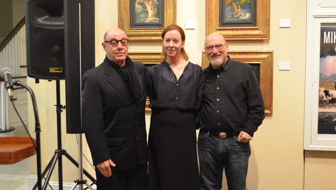 """Acclaimed as """"The Woman behind Fashion's Most Spectacular Sets"""", Mary Howard, center, was a surprise guest at a reception hosted at the Johnson Center for the Arts in Troy, honoring her husband, Mike Howard and Jerry Siegel."""
