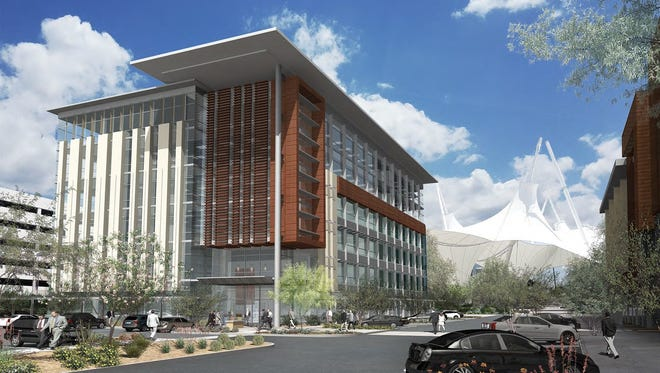 A rendering of SkySong 5, which will be locatedon the northwest corner of the SkySong shade structure. The building willbe approximately 151,318 square feet.