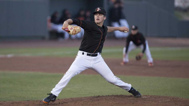 DL Hall takes the mound during a Delmarva Shorebirds game at Arthur W. Perdue Stadium.