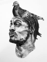 A series of graphite drawings by R.D. Rucker is part