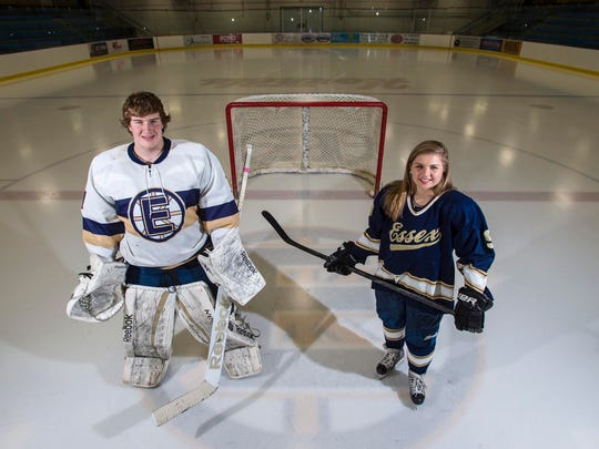 Essex High School hockey players Erik Short and Kathleen Young on Monday, March 23, 2015.