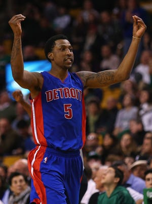 Kentavious Caldwell-Pope of the Detroit Pistons reacts after scoring against the Boston Celtics on March 22, 2015.
