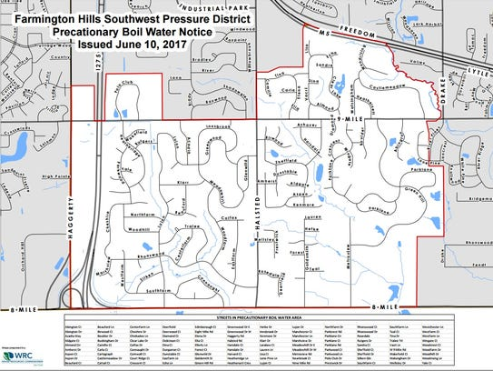 Boil water advisory issued for Livonia parts of Farmington Hills