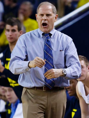 Michigan Wolverines head coach John Beilein reacts in the first half against the Coppin State Eagles at Crisler Center.