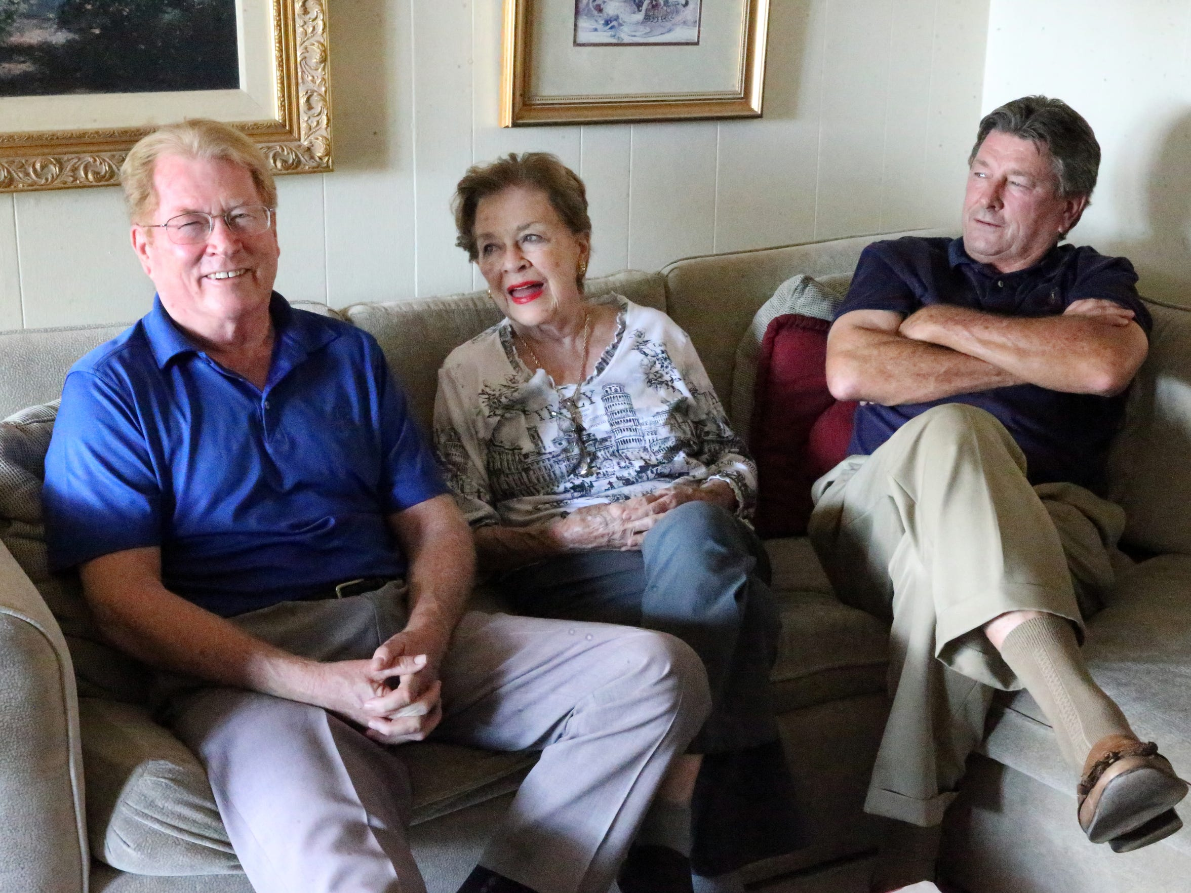 Mary Haskins and sons Brent, left, and Steve, right, reminisce about 'The Bear' in her West El Paso home.