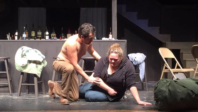 "Franz Margitza and Elizabeth Allen rehearse a scene from ""The Sea Horse,"" at Schoolcraft College in Livonia."