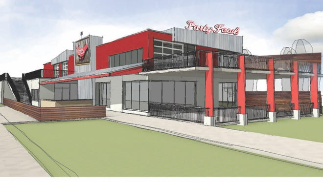 Architectural rendering of the new Party Fowl location at 2620 Lebanon Pike in Donelson, projected to open in spring 2018.