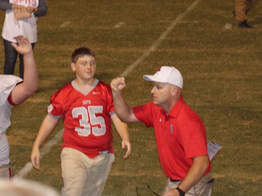 Michael Bradley celebrates during a South Pontotoc game. Bradley has the Cougars 5-0 this year.