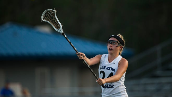 Jo Imbriani passes the ball on Thursday, April 6, 2017 during the District 20 girls lacrosse championship game between Barron Collier High School and Naples High School at Barron Collier High School in Naples.