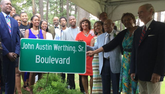 LaBelle Street was renamed to honor John Werthing Sr., third from left.