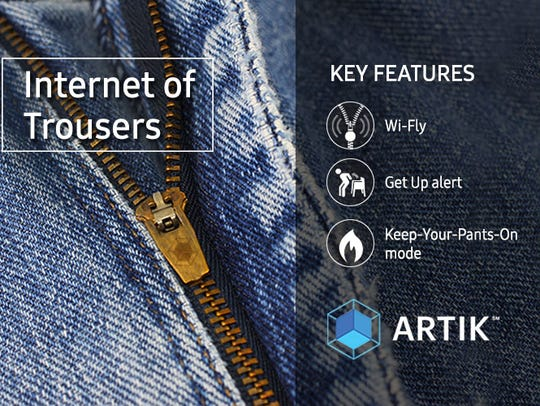 Samsung's spoof product Internet of Trousers.