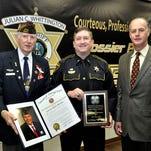 From left are Ken Koval, Bossier City VFW Post 5951 member, Lt. Bill Davis, Bossier Sheriff's Office Public Information Officer and Bossier Sheriff Julian Whittington