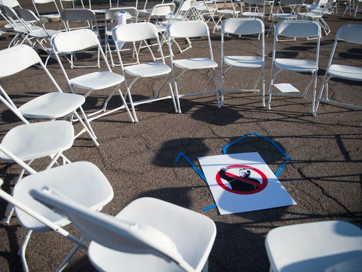 An anti-Arpaio sign marks a group's meeting place at