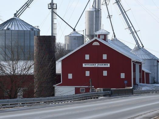 The Stuart Farms barn on Indiana 38 near Greensfork