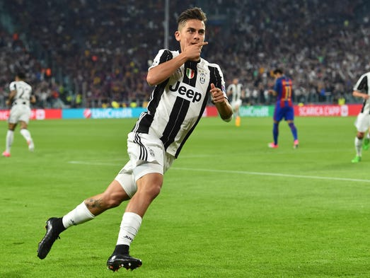 Juventus' forward from Argentina Paulo Dybala celebrates