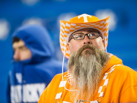 Vol fan Mike Trammell sits in the stands before the