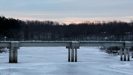 Winton Lakes is frozen over Thursday morning. Even colder temperatures are expected this weekend.