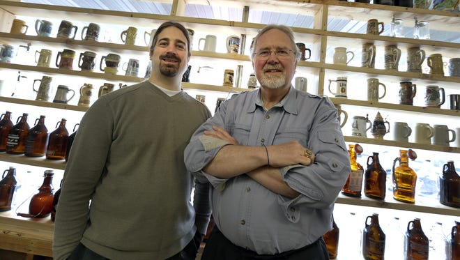 Robert Forseth, left, and Jan Bax, co-owners of the future DocAtty's craft brewery, winery and distillery in Waupaca.