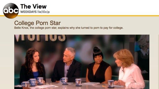 "Barbara Walters, right, interviews Belle Knox, left, on ""The View"" last week."