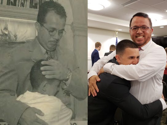 At left, York City Detective Andy Baez is hugged by
