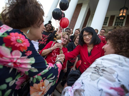 Dr. Neeli Bendapudi was greeted by faculty, staff and students on her first day of work as the new University of Louisville President. May 15, 2018.