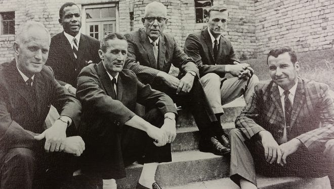 Asheville High School coaches, 1969-70, from left: John Gilbreath, Gene Hammonds, Hugh Hamilton, A.R. Isbill, Tom Wilson and Bill Bennett, as pictured in the yearbook.
