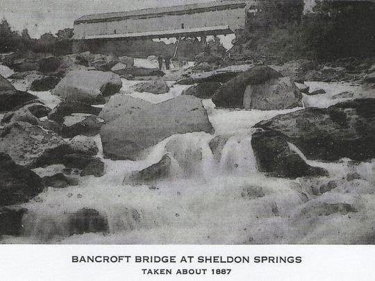 A photo of the Bancroft Bridge taken around 1887. Built in 1836, the bridge at Olmstead Falls spanned the Missisquoi River near the present steel bridge between Sheldon Springs and Shawville along the Shawville Road.
