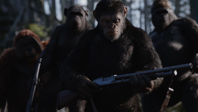 Caesar, played by Andy Serkis, leads a group of apes into battle.