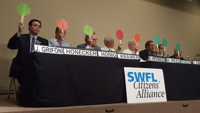 City Council candidates used red and green paddles to answer a series of yes/no questions at Thursday's forum. Pictured: Will you champion maintaining the roll-back millage rate, which would keep city revenues constant without raising taxes?