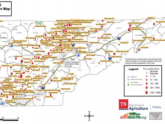 Tennessee Department of Agriculture Division of Forestry fire map, as of Nov. 12, 2016
