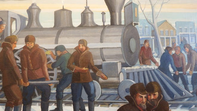 "A photo of the Iowa City mural ""Railroad Arrives Jan. 1st. 1856"" by Mildred Pelzer shows a scene of railroad construction in Iowa City."