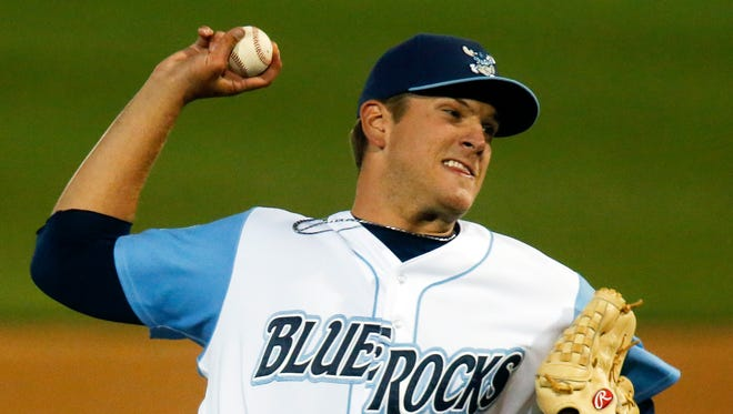 Blue Rocks reliever Andrew Edwards throws in the eighth inning before giving up two runs during the Blue Rocks' 2-1 loss at Frawley Stadium Wednesday.