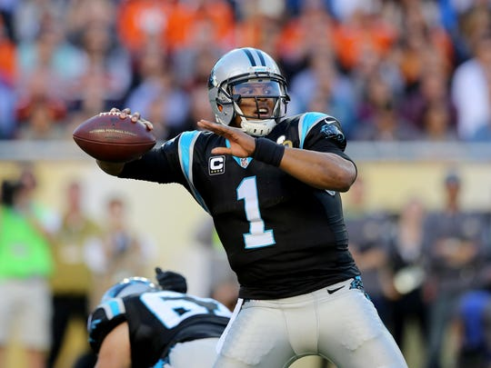 Carolina Panthers' Cam Newton (1) throws a pass against the Denver Broncos during the NFL Super Bowl 50 football game Sunday, Feb. 7, 2016, in Santa Clara, Calif. (AP Photo/Gregory Payan)