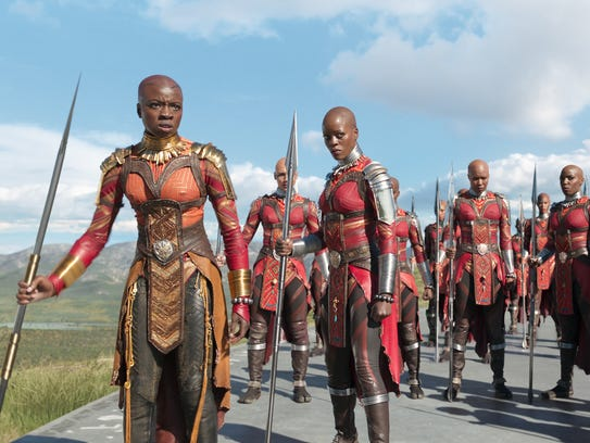 Okoye (Danai Gurira) and Ayo (Florence Kasumba) with