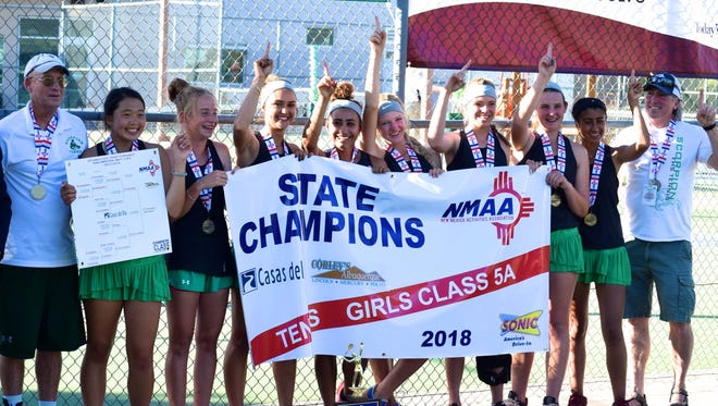 The Farmington girls tennis team took home the blue trophy on Saturday, its seventh state title since 2009.