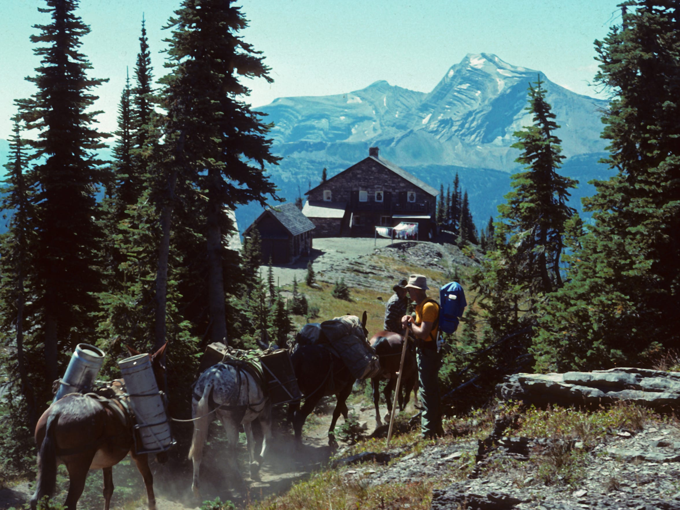 Granite Park Chalet backdropped by Heavens Peak; Glacier