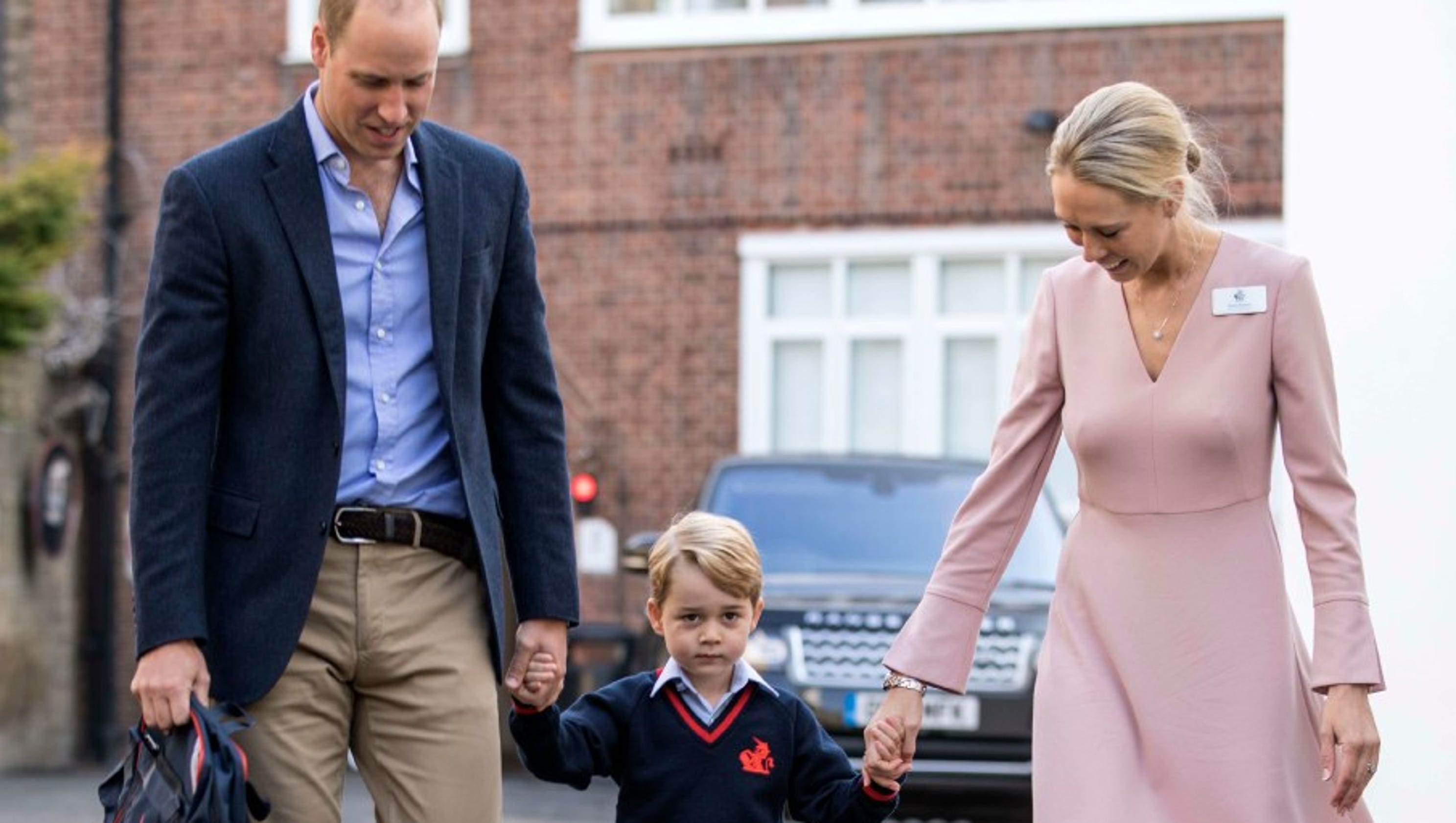 prince george arrives for first day of school with prince. Black Bedroom Furniture Sets. Home Design Ideas