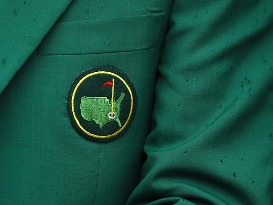 A detail of a green jacket is seen during the Par 3