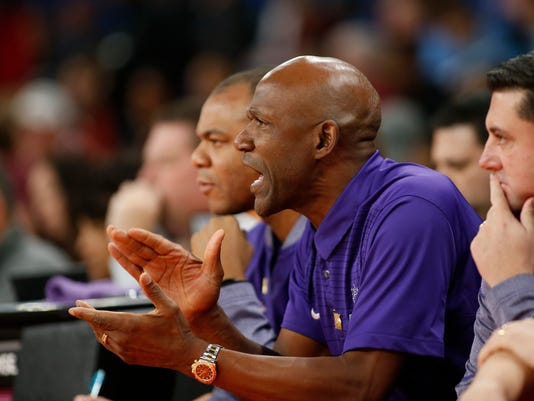 Portland head coach Terry Porter cheers on his team in the first half of an NCAA college basketball game against Oklahoma during the Phil Knight Invitational tournament in Portland, Ore., Friday, Nov. 24, 2017. (AP Photo/Timothy J. Gonzalez)