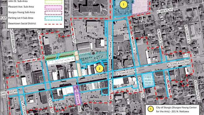 Downtown social district commons areas and sub-sections.